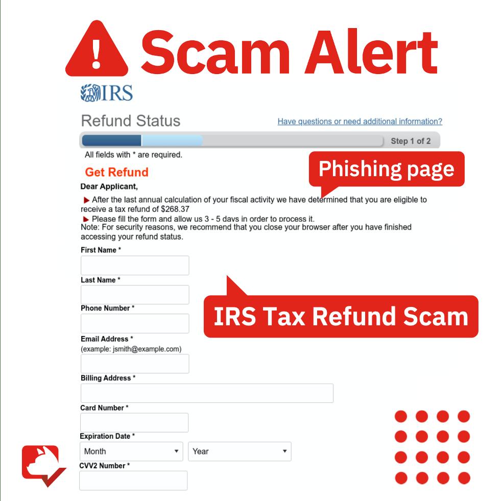 Fake IRS tax refund page.