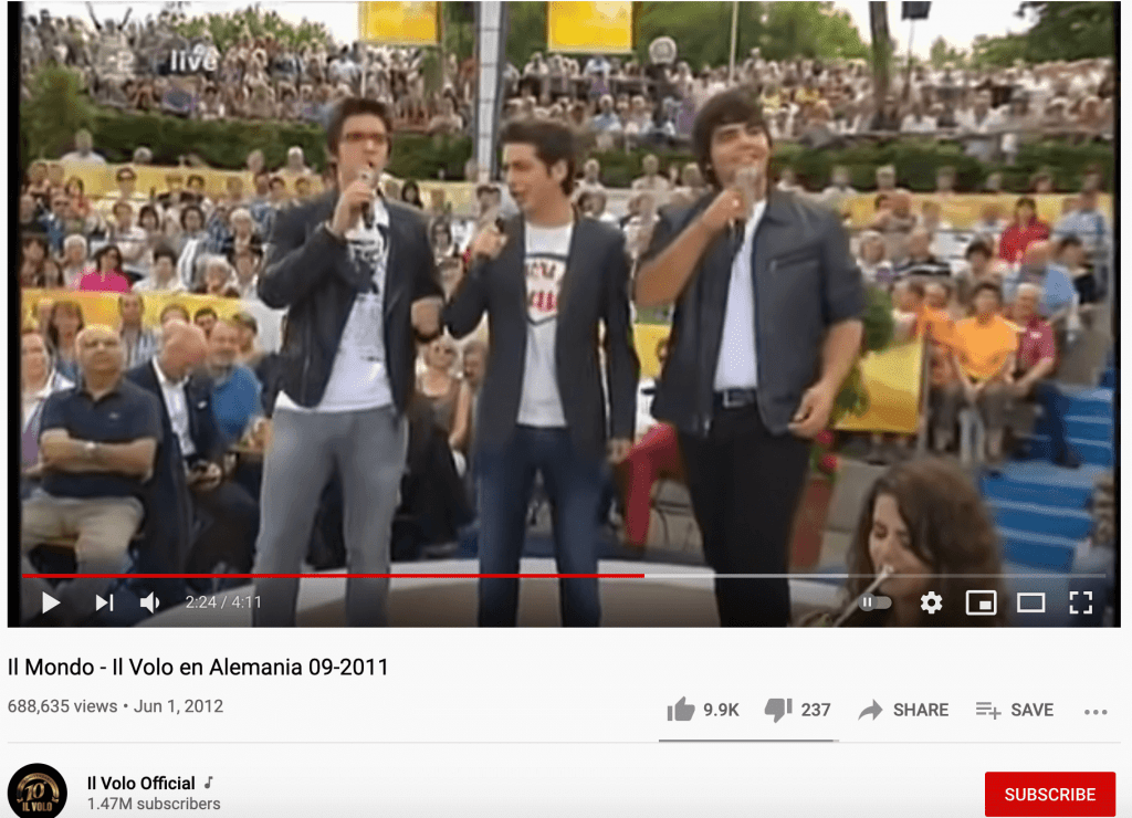 The original video from Il Volo Official. Source: Youtube