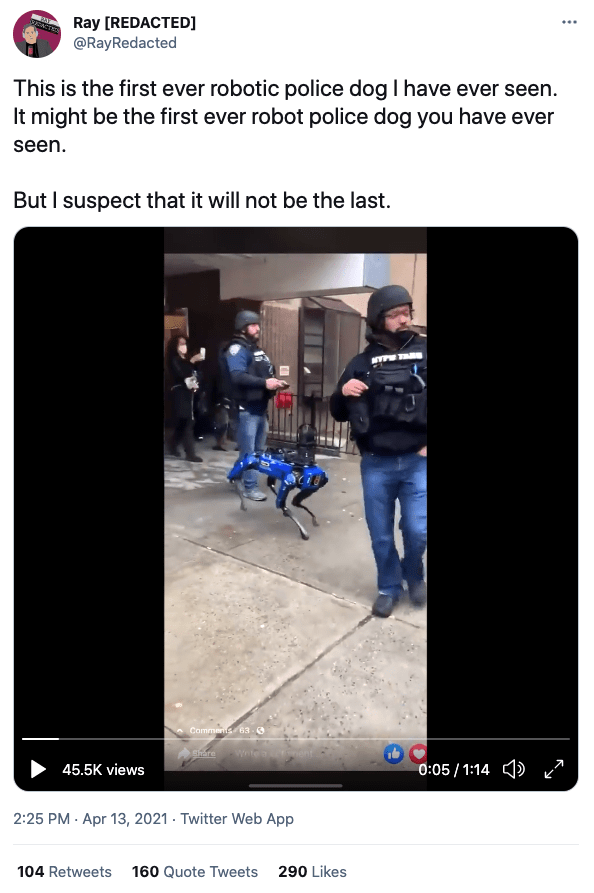 Viral video about robot police dog from NYPD.