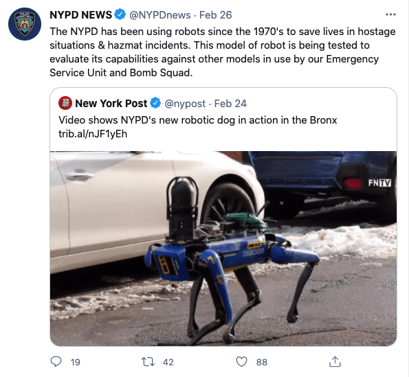 NYPD's Tweet about the robot dog in use. Source: Twitter