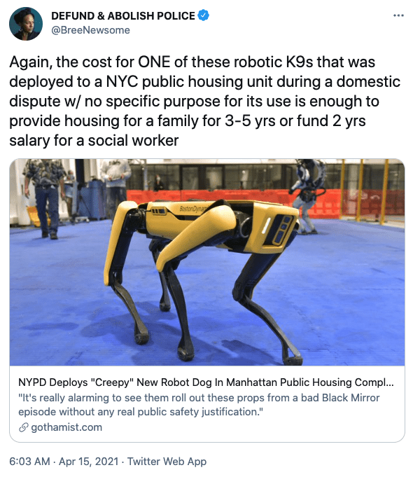 Comment against usage of robot dog. Source: Twitter