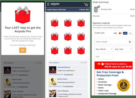 Fake Amazon online survey page.
