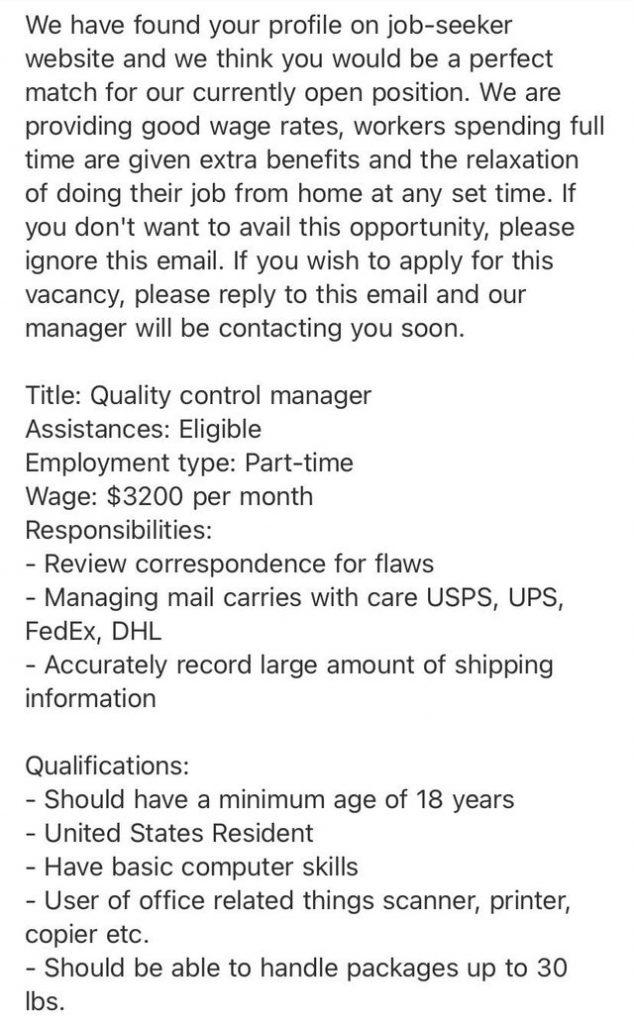 Too-good-to-be-true job offer. Source: Reddit