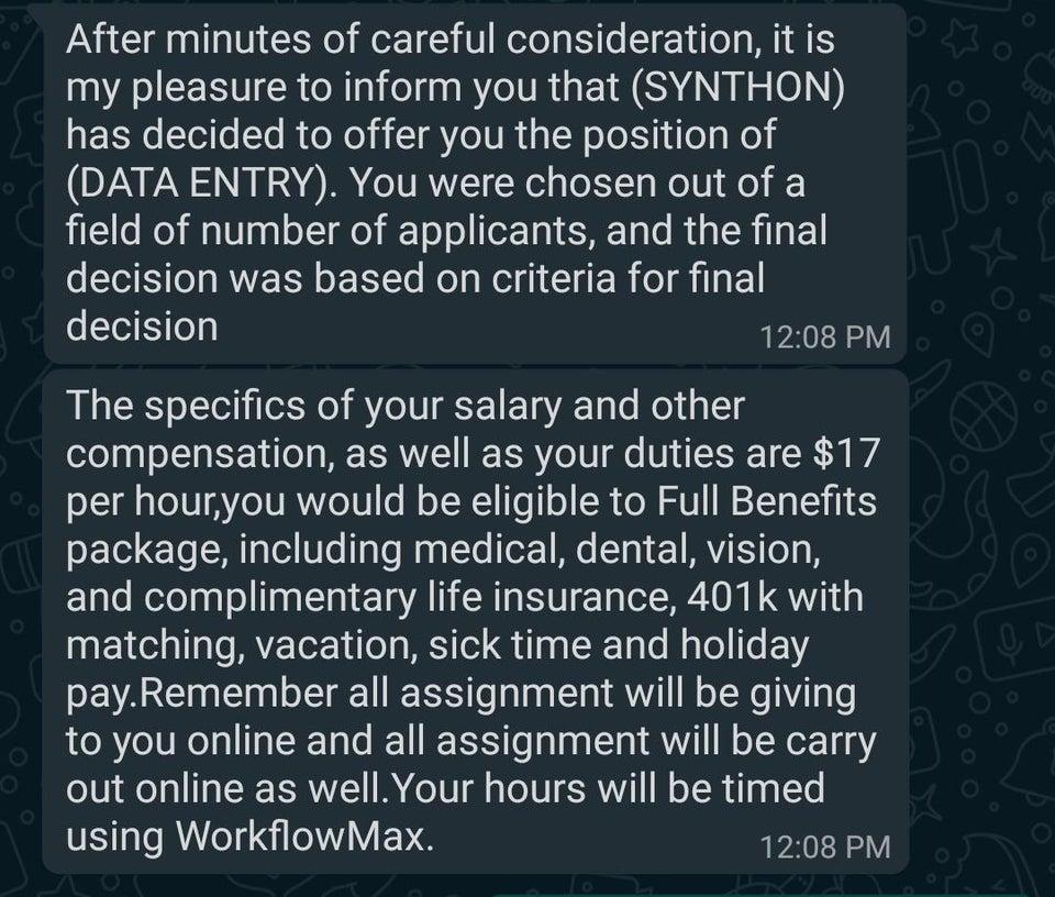 Job scam coming through WhatsApp. Source: Reddit