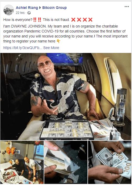 Dwayne Johnson giveaway scam on Facebook. Source: Reddit