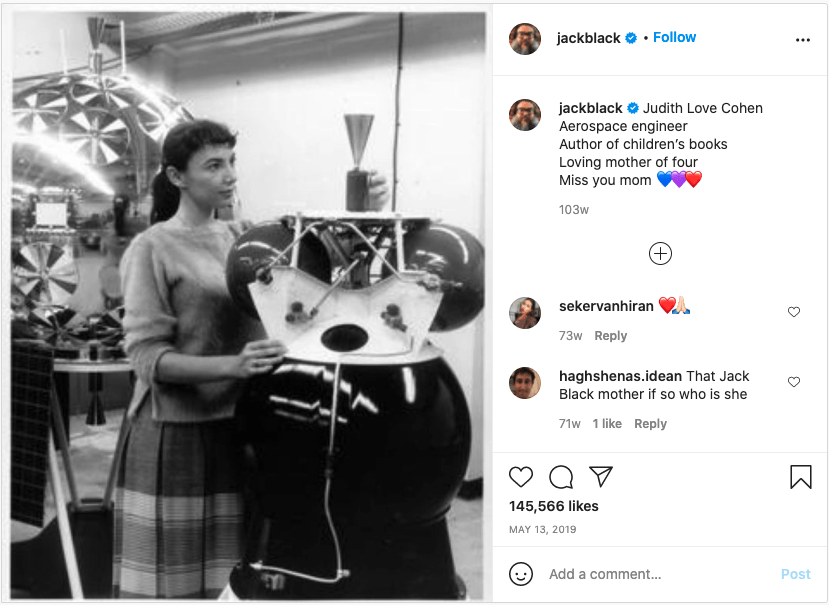 Jack Black's Instagram post about his mom, Judith Love Cohen.