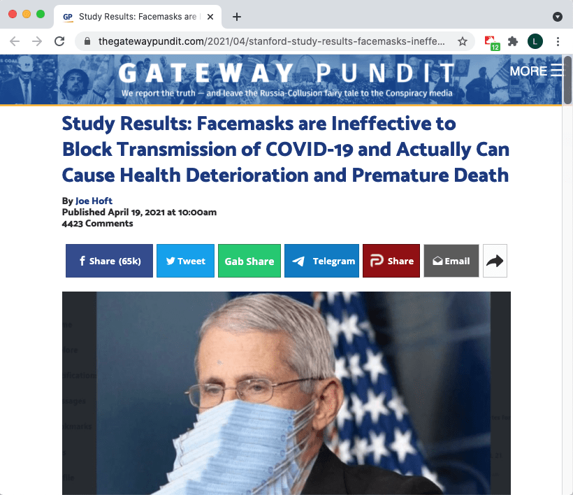 Misinformation about masks on The Gateway Pundit