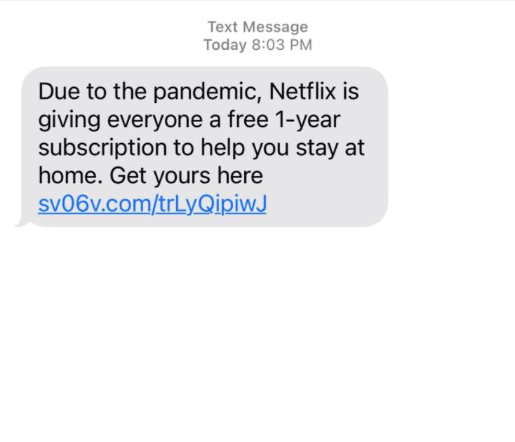 Netflix free subscription scam