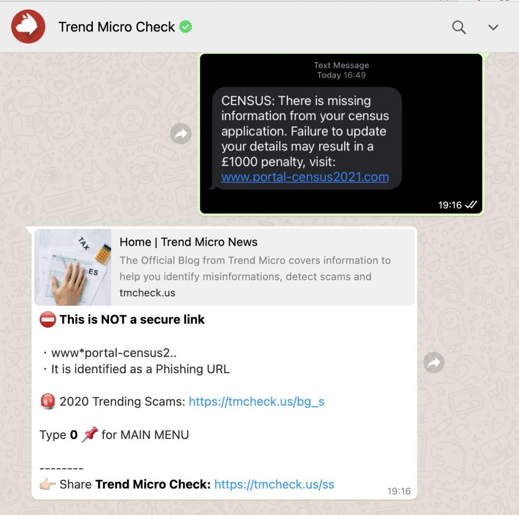 Trend Micro Check on WhatsApp