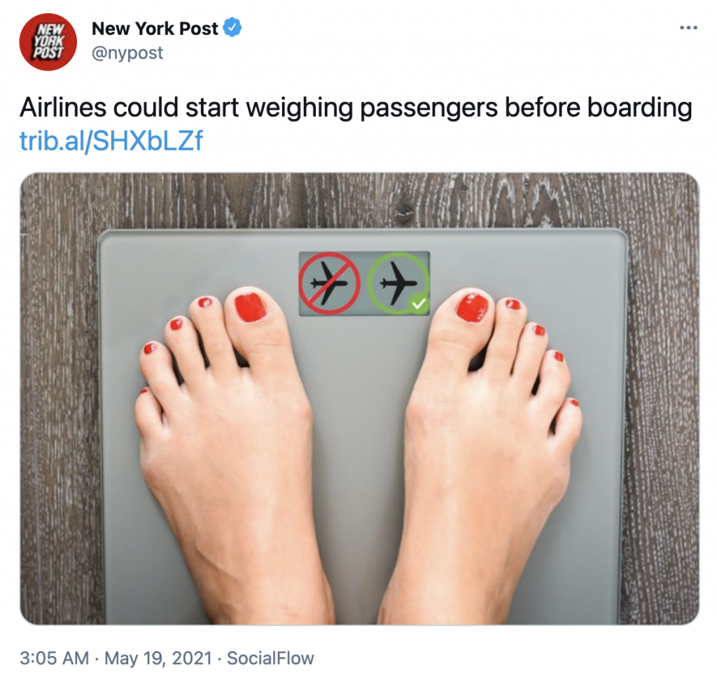 New York Post reports about airlines weighing passengers