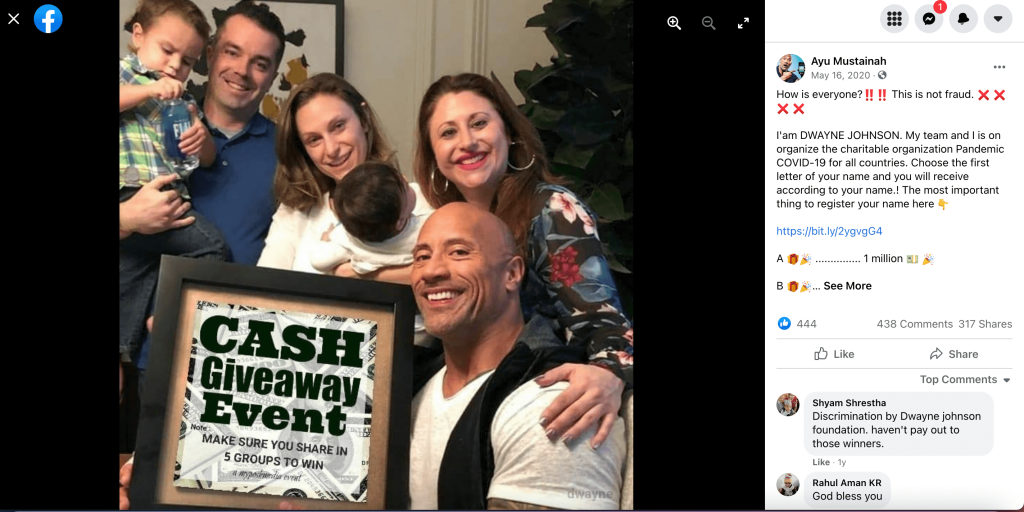 Dwayne Johnson giveaway scam in 2020.
