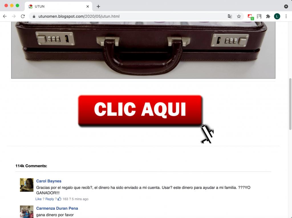 Scam giveaway website.