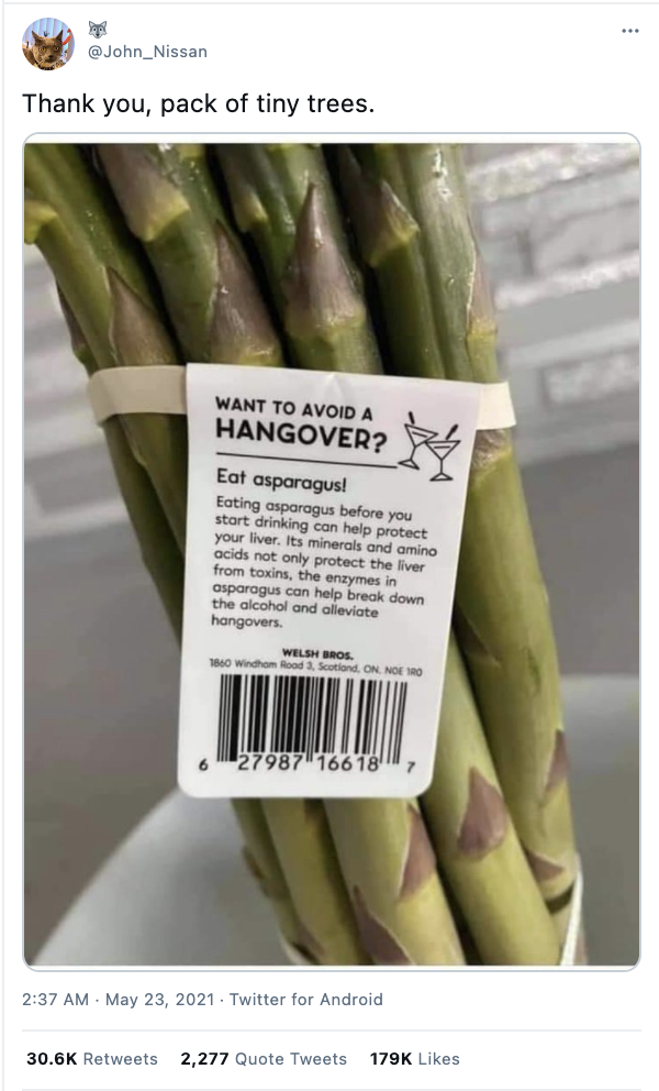 Can asparagus prevent hangover?