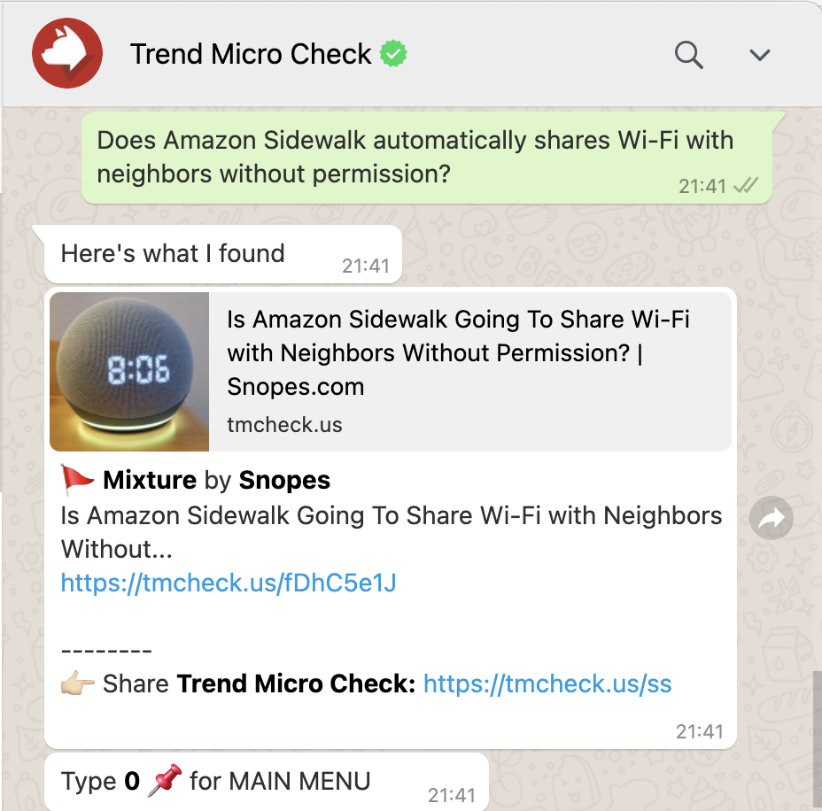 Use Trend Micro Check to gather the information you need to tell what's real on WhatsApp. Source: Snopes