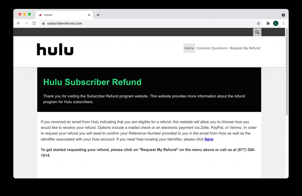 Fake Hulu refund page