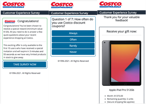 Costco survey scam.