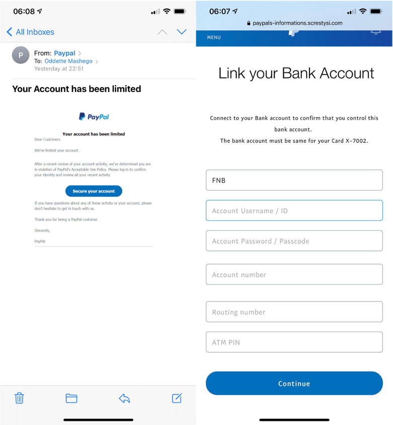 PayPal email scam and fake PayPal login page. Source: Twitter