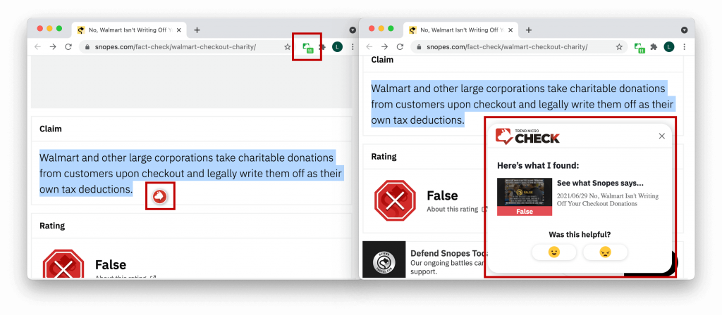 Select a statement and click on the red Trend Micro Check logo for immediate detection results.