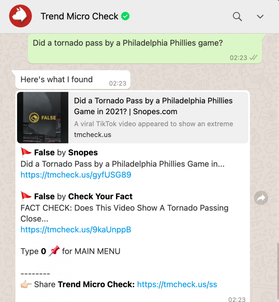 Use Trend Micro Check to gather the information you need to tell what's real on WhatsApp.