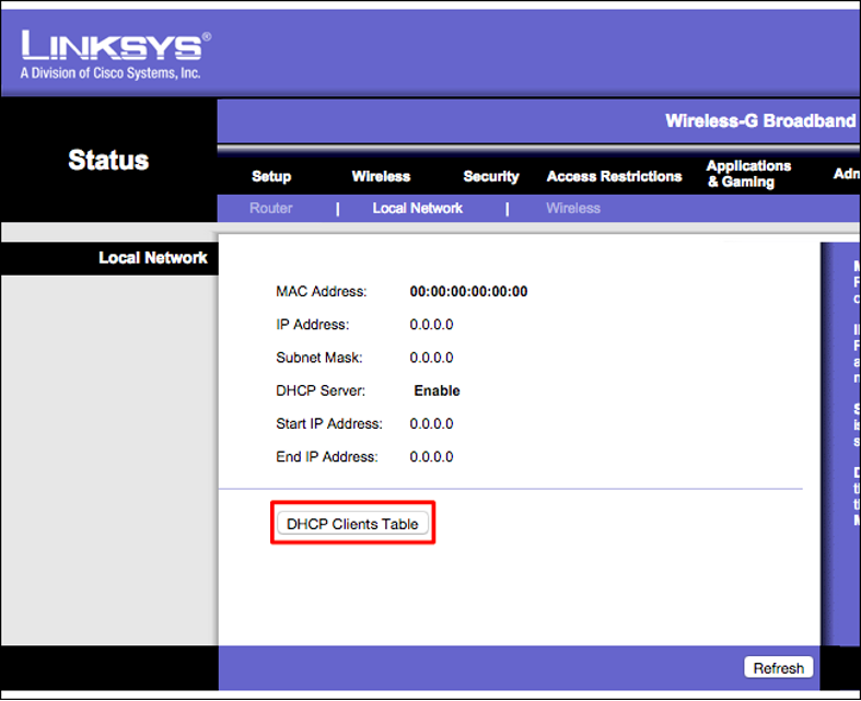 Accessing the DHCP clients table of a Linksys router