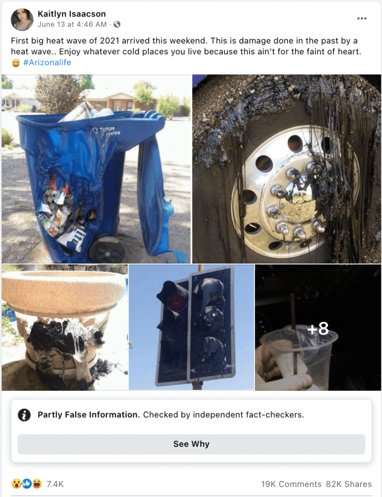 Photos showing objects melting because of the heat waves.