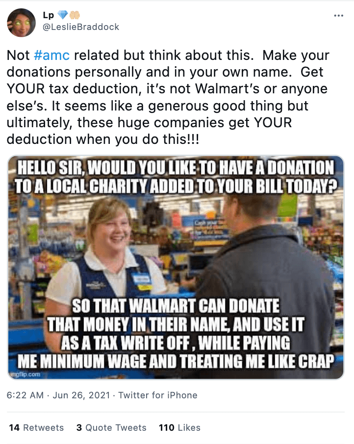 Walmart tax deduction meme. Source: Twitter