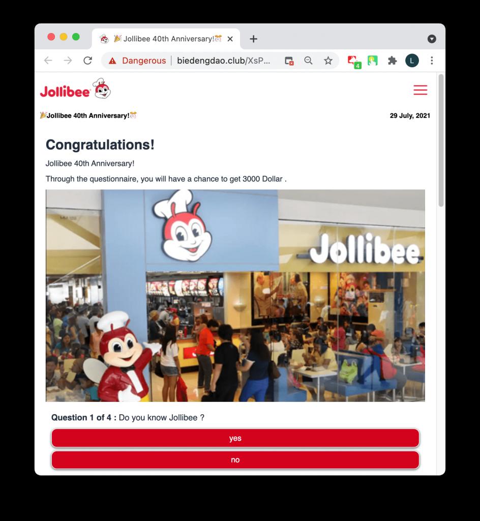 Jollibee anniversaty scam