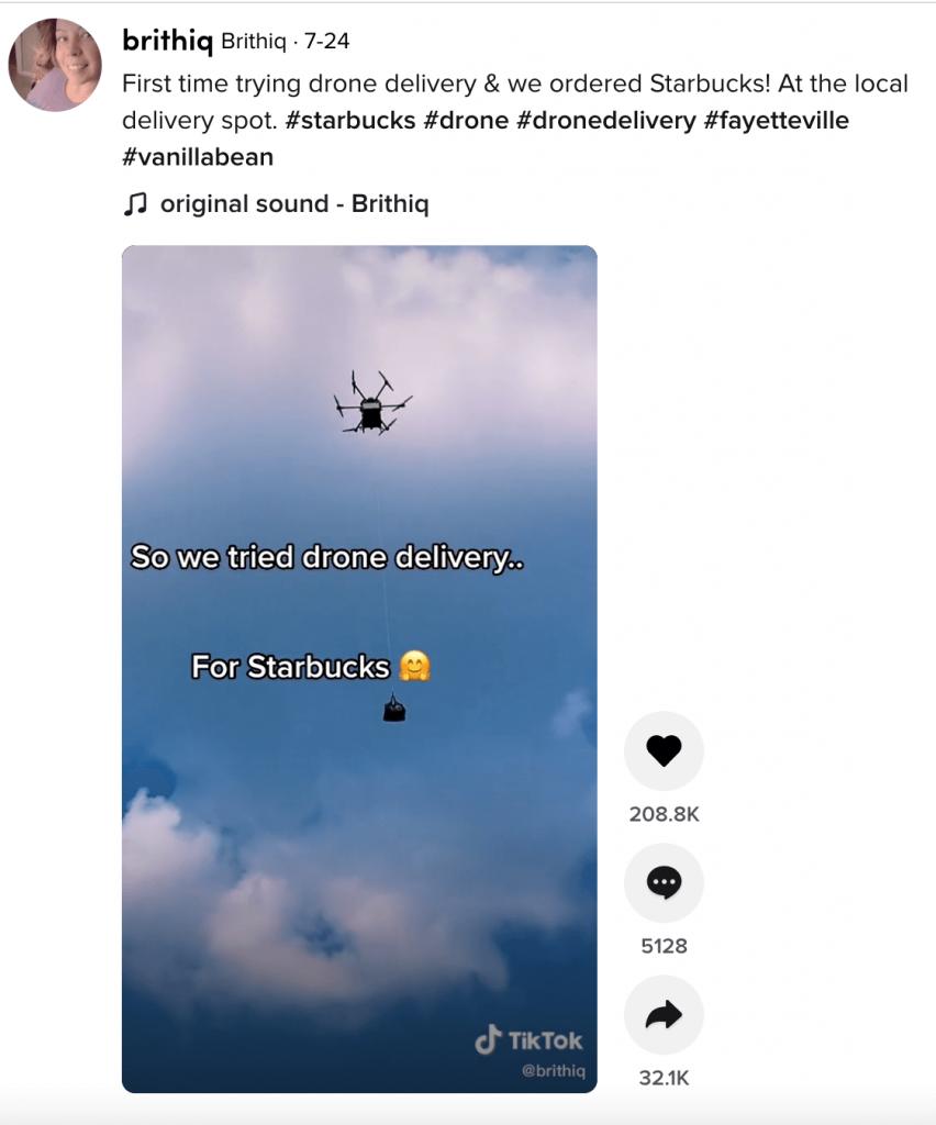 TikTok video showing drone delivery for Starbucks. Source: TikTok