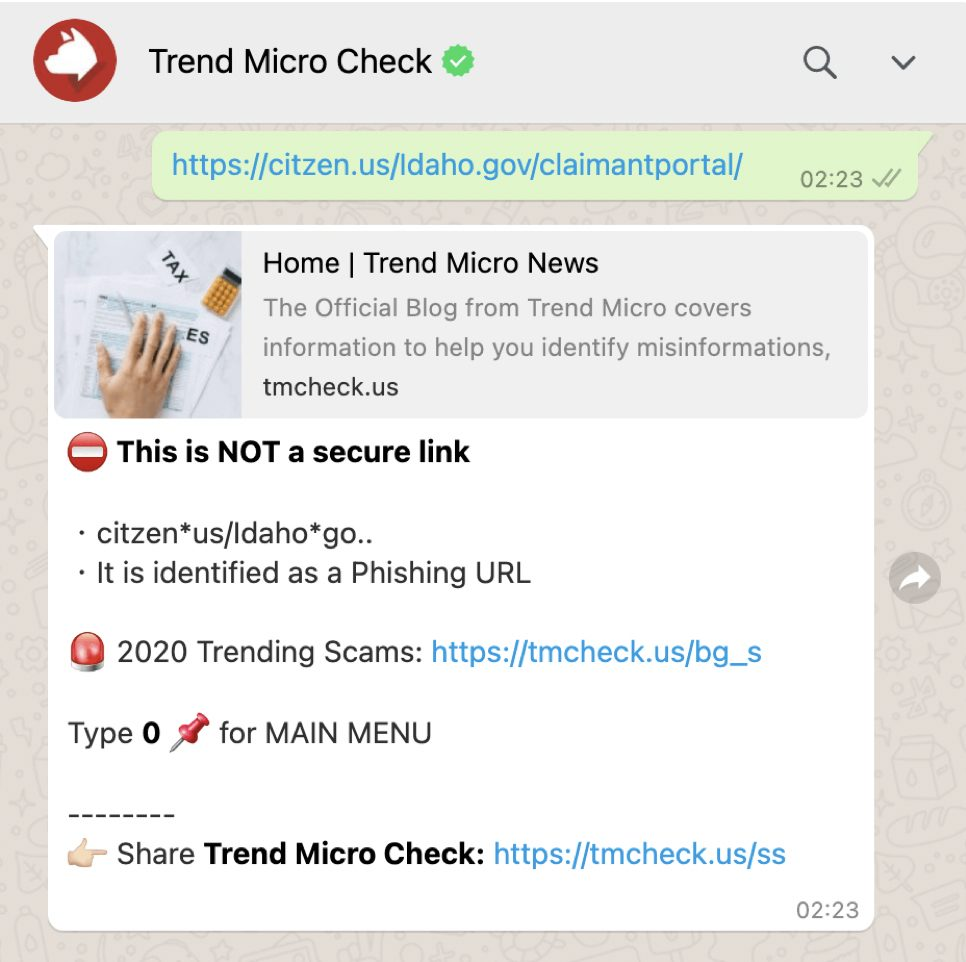 Trend Micro Check onWhatsApp: